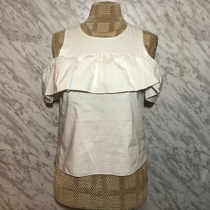 Saks Fifth Ave Cold Shoulder Top White Size XSmall